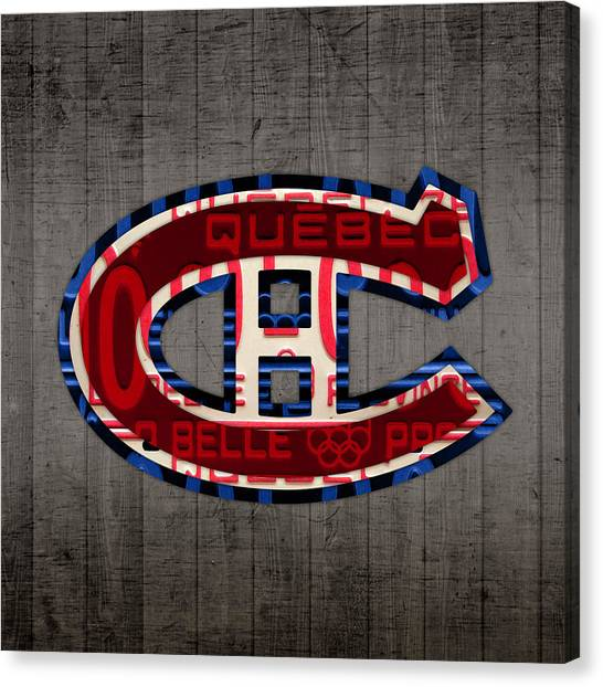 Quebec Canvas Print - Montreal Canadiens Hockey Team Retro Logo Vintage Recycled Quebec Canada License Plate Art by Design Turnpike
