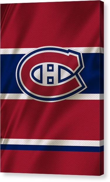 Hockey Players Canvas Print - Montreal Canadiens Uniform by Joe Hamilton
