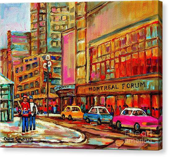 Bobby Orr Canvas Print - Montreal Forum  Winter Scene Paintings Snowy Day Downtown Strolling Atwater C Spandau  by Carole Spandau