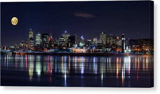 Night Lights Canvas Print - Montreal Night by