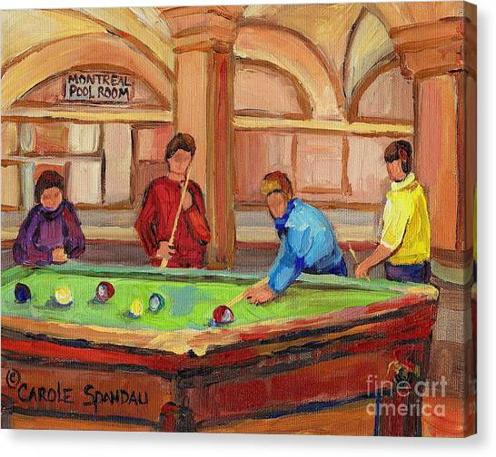 Fast Ball Canvas Print - Montreal Pool Room by Carole Spandau
