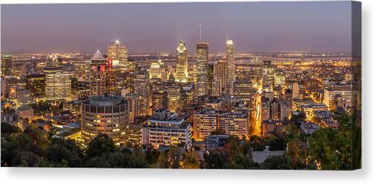 Montreal Skyline At Night Canvas Print
