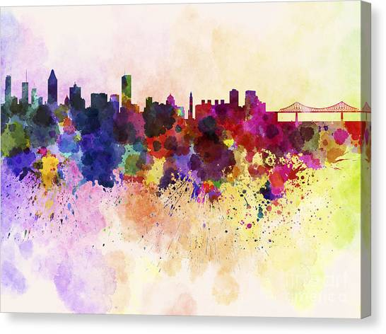 Montreal Landmarks Canvas Print - Montreal Skyline In Watercolor Background by Pablo Romero