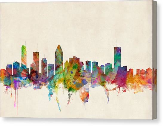 Canada Canvas Print - Montreal Skyline by Michael Tompsett