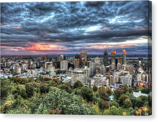 Montreal Skyline Sunset From Mount Royal Canvas Print