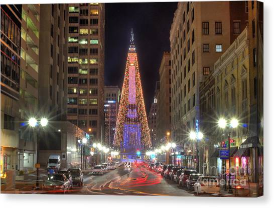 Indianapolis Canvas Print - Monument Circle Christmas Tree by Twenty Two North Photography