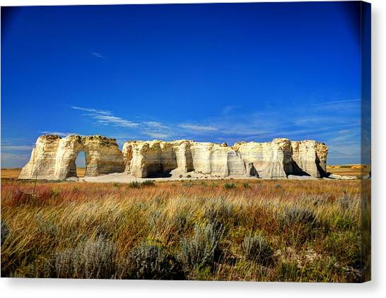 Monument Rocks In Western Kansas Canvas Print
