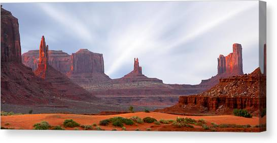 Monument Valley At Sunset Panoramic Canvas Print