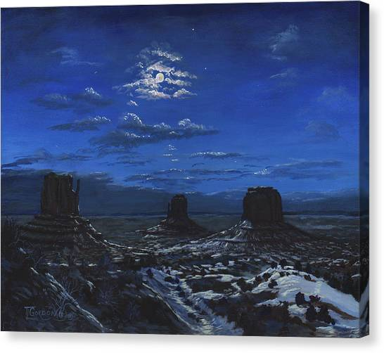 Monument Valley By Moon Light Canvas Print