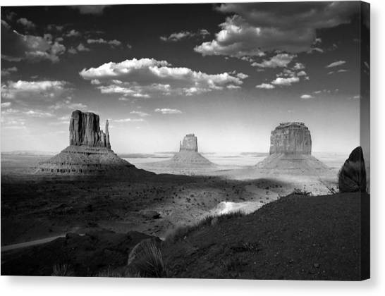Monument Valley In Black And White Canvas Print