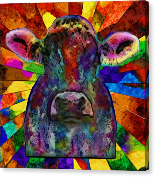 Installation Art Canvas Print - Moo Cow With Color by Jack Zulli