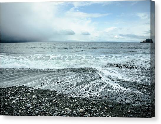 Moody Waves French Beach Canvas Print