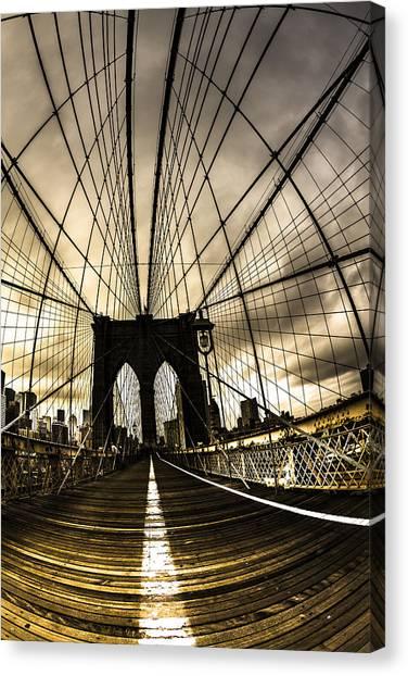 Moody Brooklyn Bridge Canvas Print by Chris Halford