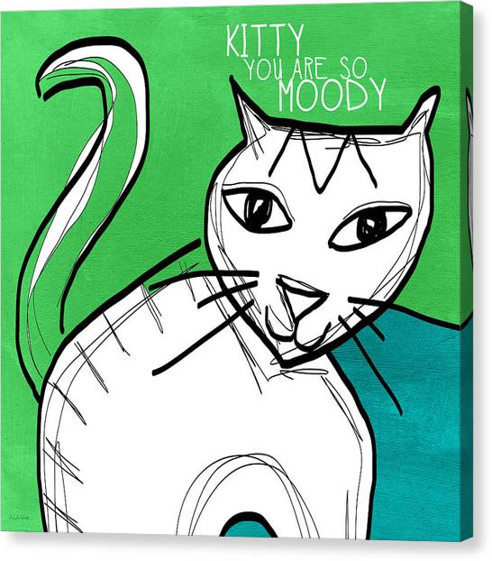 Tabby Cats Canvas Print - Moody Cat- Pop Art by Linda Woods