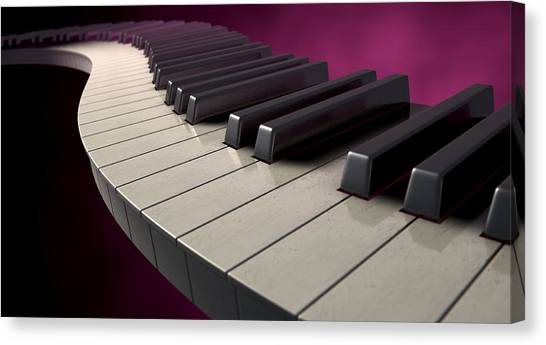 Synthesizers Canvas Print - Moody Curvy Piano Keys by Allan Swart