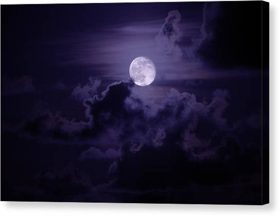 Coasts Canvas Print - Moody Moon by Chad Dutson