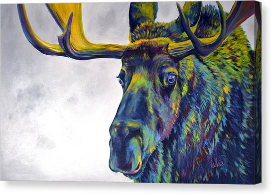 Moose Canvas Print - Moody Moose by Teshia Art