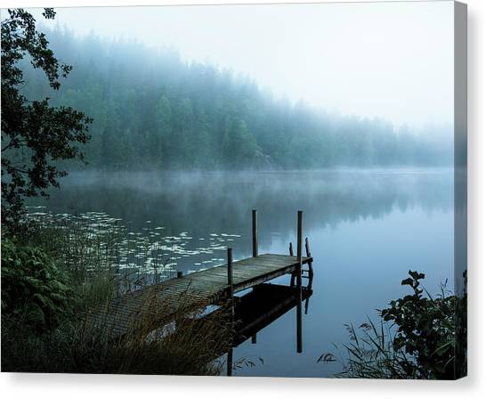 Pier Canvas Print - Moody Morning by Christian Lindsten