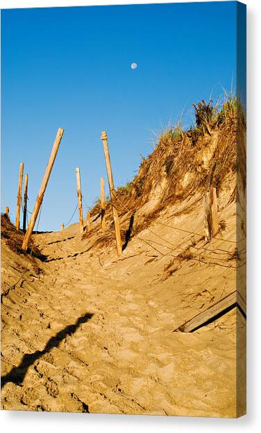 Moon And Dunes Canvas Print