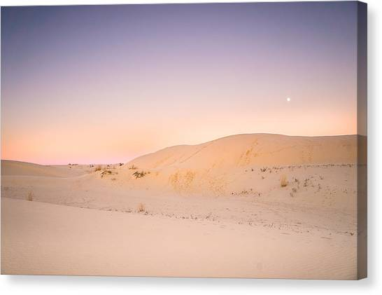 Deserts Canvas Print - Moon And Sand Dune In Twilight by Ellie Teramoto