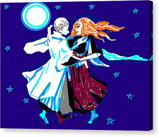 Moon And The Couple Canvas Print by Anand Swaroop Manchiraju