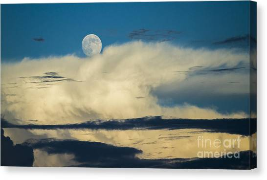 Thunderclouds Canvas Print - Moon And Thunderclouds by Dustin K Ryan