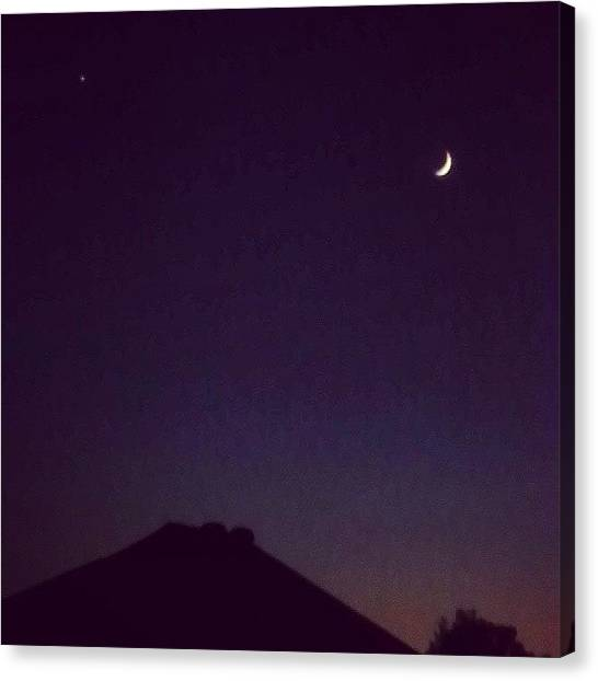 Venus Canvas Print - #moon And #venus In The #sky Tonight by Eric Fines