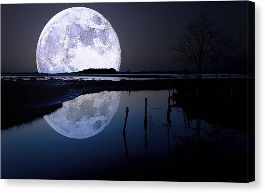 Moon Canvas Print - Moon At Night by Gianfranco Weiss