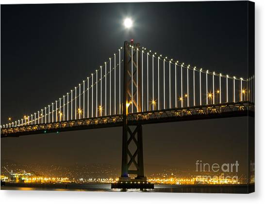Canvas Print featuring the photograph Moon Atop The Bridge by Kate Brown