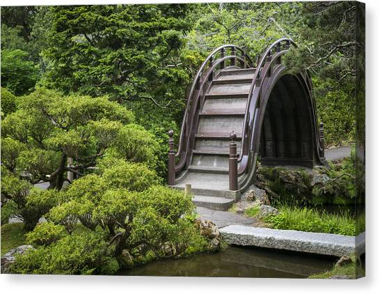 Bridge Canvas Print - Moon Bridge - Japanese Tea Garden by Adam Romanowicz