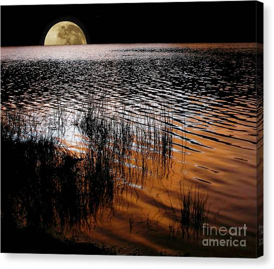 Moon Catching A Glimpse Of Sunset Canvas Print