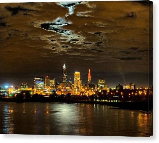 Moon Clouds Over Cleveland Canvas Print