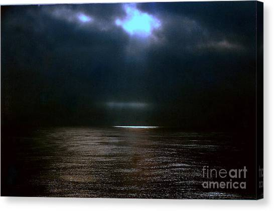 Moon Glow Over The Gulf Of Mexico Canvas Print by Michael Hoard