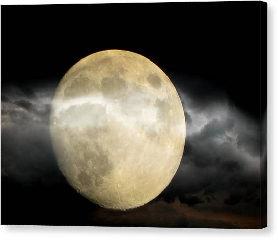 Moon In The Fog Canvas Print by Michelle Frizzell-Thompson