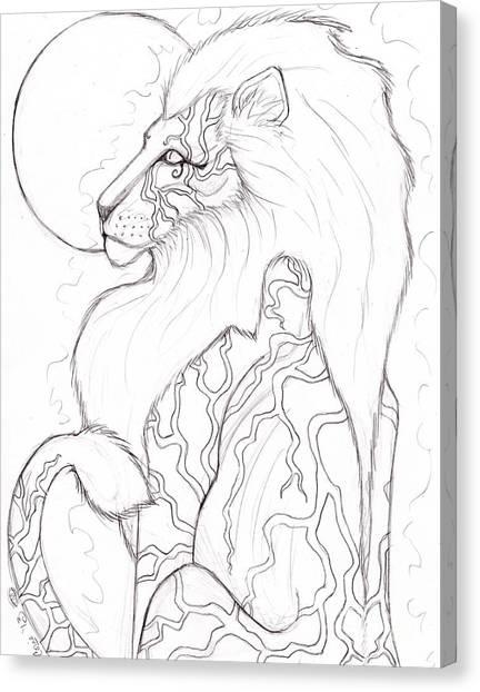 Moon Lion Sketch Canvas Print by Coriander  Shea