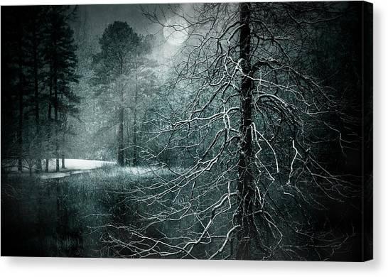 Moon Misty Lake  Canvas Print by Dorothy Walker