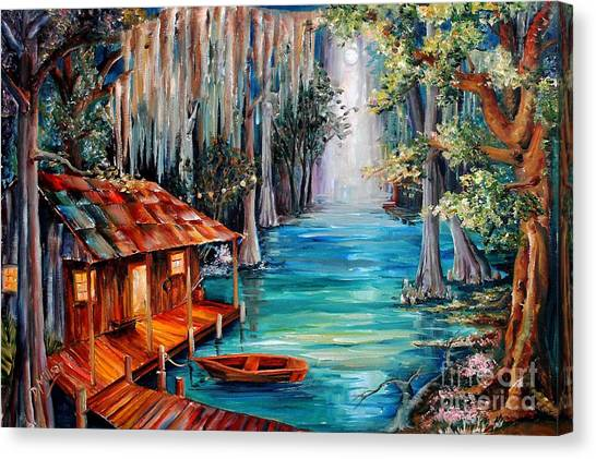 Dock Canvas Print - Moon On The Bayou by Diane Millsap
