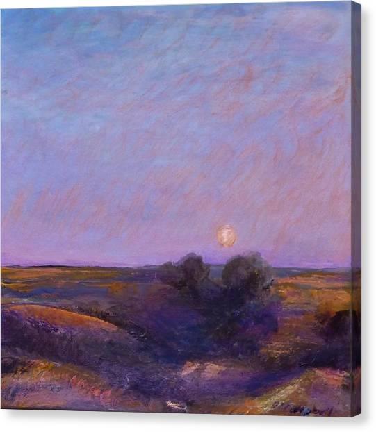 Moon On The Horizon Canvas Print