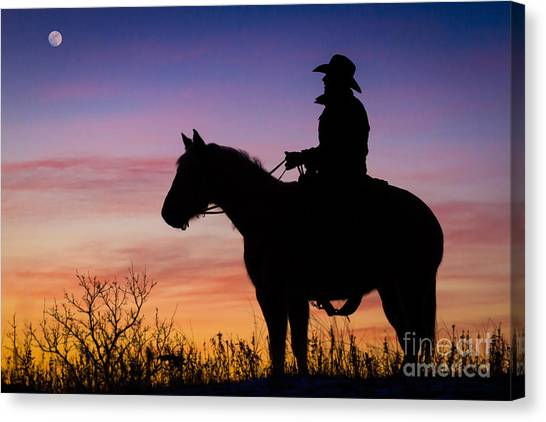 Texas Canvas Print - Moon On The Range by Inge Johnsson