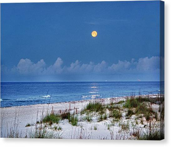 Canvas Print featuring the digital art Moon Over Beach by Michael Thomas