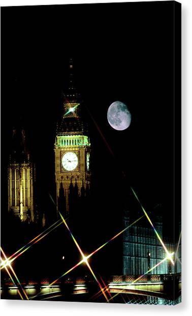 Moon Over Big Ben Canvas Print by Robin Scagell/science Photo Library