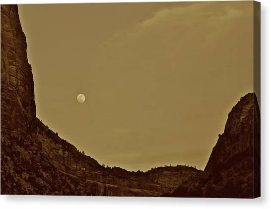 Moon Over Crag Utah Canvas Print