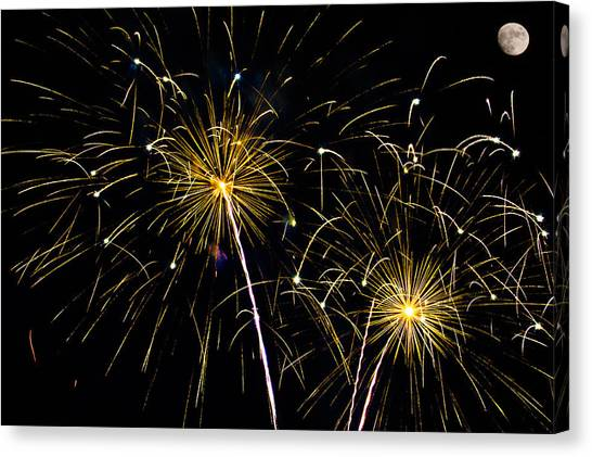 Moon Over Golden Starburst- July Fourth - Fireworks Canvas Print