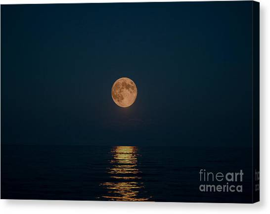 Moon Over Lake Of Shining Waters Canvas Print