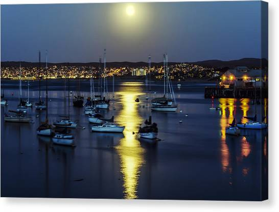 Moon Over Monterey Bay Canvas Print
