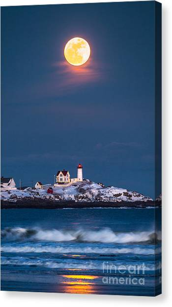 Moon Canvas Print - Moon Over Nubble by Benjamin Williamson