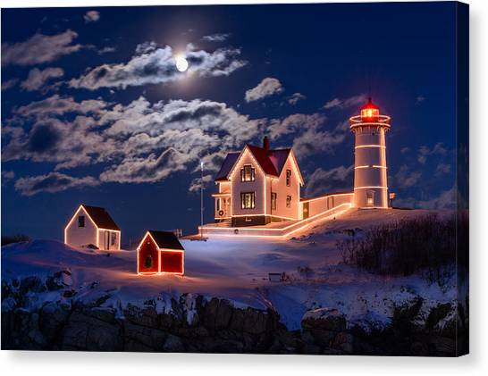 Lighthouse Canvas Print - Moon Over Nubble by Michael Blanchette