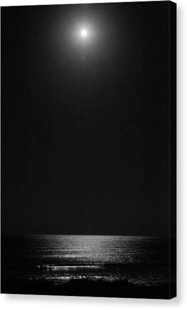 Moon Over Ocean Canvas Print