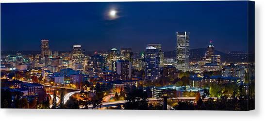 Moon Over Portland Oregon City Skyline At Blue Hour Canvas Print