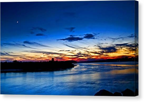 Moon Over Quonochontaug Pond Canvas Print